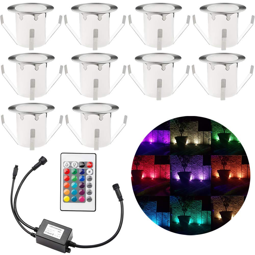 Pack of 10 Multi Color Changing Deck Lights, ø1.18'' RGB LED Low Voltage Stair Light Kit with Remote Control IP67 Waterproof Recessed Outdoor Step Lighting for Patio Landscape Pathway Garden