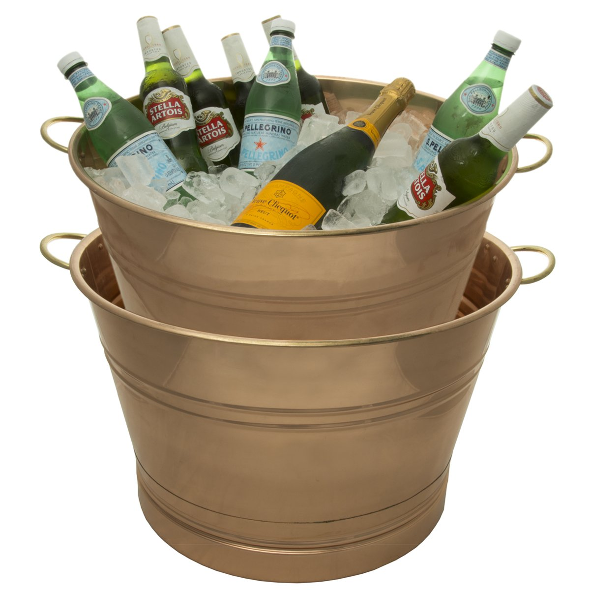 2 Pack Copper 7.75 Gallon Party Tubs With Handles Metal Big Ice Bucket For Drinks Décor Parties