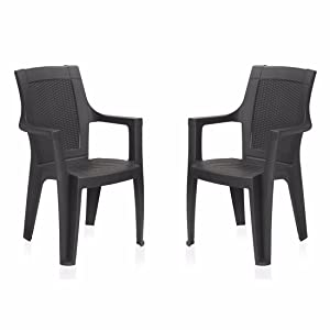 Nilkamal Mystique Chair, Set of 2 (Charcoal Grey)