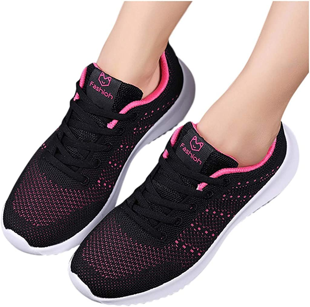 Femmes Baskets Running Fitness Course Basses Athlétique Marche Gym Filets Chaussures Respirant Maille À Lacets Leger Sport Run Baskets étudiante Antidérapant Sneakers 35-41 Noir