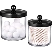 Premium Quality Plastic Apothecary Jars - Qtip Holder Bathroom Vanity Countertop Storage Organizer Canister Clear Acrylic for Cotton Swabs,Rounds, Balls,Makeup Sponges,Bath Salts / 2 Pack (Black)