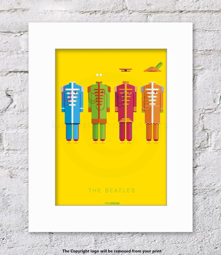 Amazon.com: The Beatles - Fred Birchal - WHITE Mounted - UNFRAMED ...