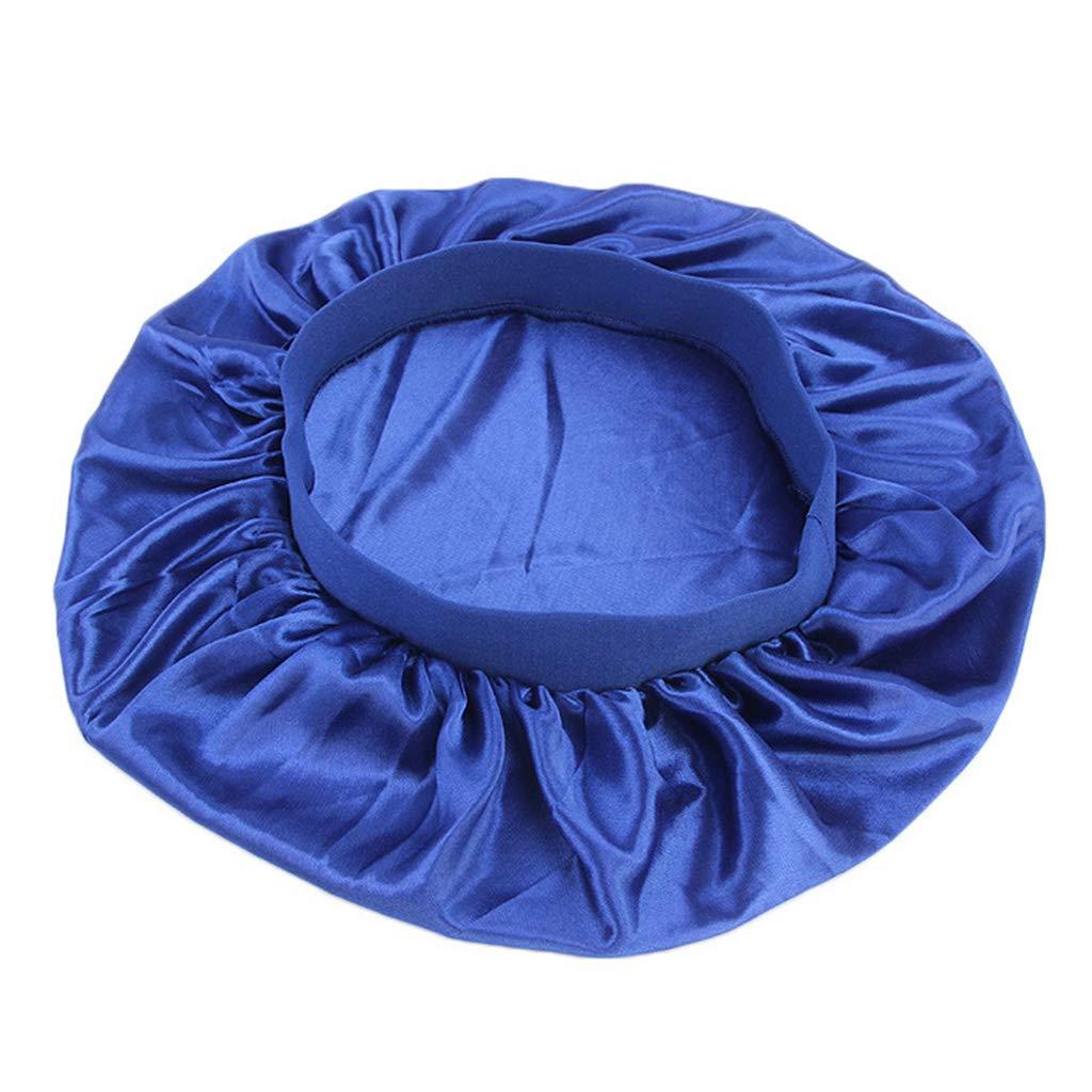 Bande /élastique pliss/é Bleu Marine Nuit Solide Chapeau de Nuit JOYKK Bonnet en Soie Bonnet Large Femme Cache-c/œur