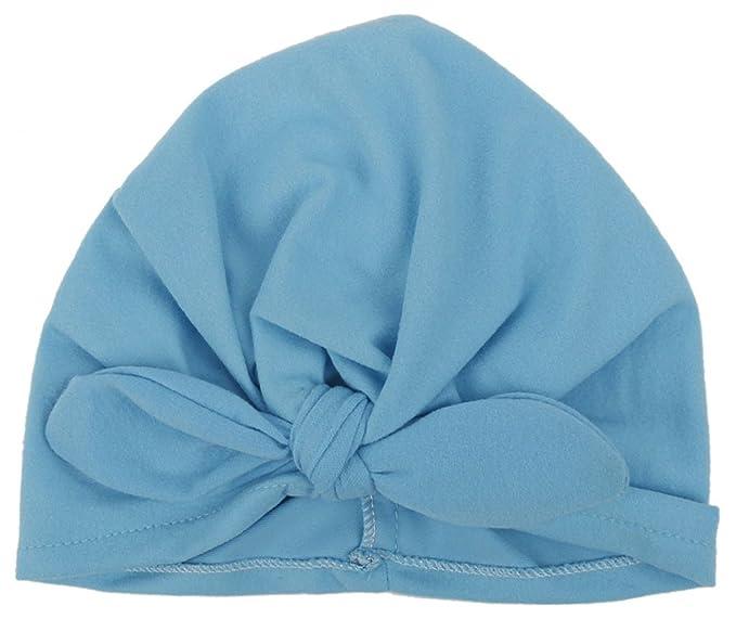 GEMVIE Baby Girl Cotton Beanie Caps Ears Knot Bow Turban Headband Blue