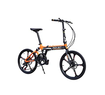 "Richbit RT023 Naranja Shimano 7 Velocidades Softail Aluminio Cuadro Mini Bicicleta 20"" Plegable 5 Llanta"