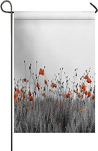 USOPHIA Poppy Flowers Countryside Botanical Nature Theme Artprint Polyester House Garden Flag Banner 12 x 18 inch Double Sided Spring Decorative Rustic/Farm House