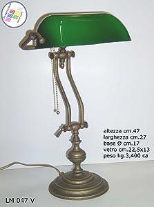Lampada Churchill Lusso da Studio Scrivania Scrittoio Vetro Verde Ottone BRUNITO Regolabile