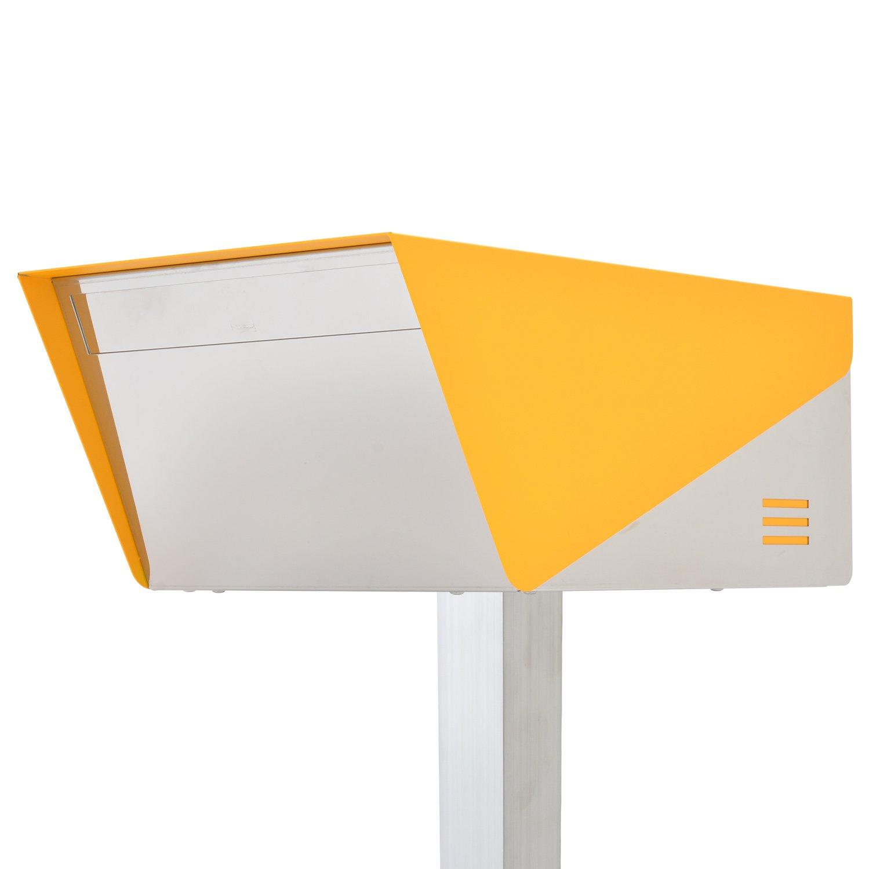San Jose light(サンノゼライト) ディープ 郵便ポスト ポール付き スタンド型 ステンレス製 鍵付き おしゃれ 大型 アメリカンポスト 大容量 郵便受け 99.9% 防水構造 日本製 イエロー B01MXVETQB 29160 イエロー イエロー