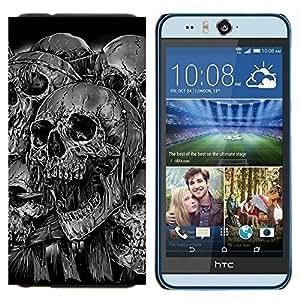 TECHCASE---Cubierta de la caja de protección para la piel dura ** HTC Desire Eye ( M910x ) ** --Goth Evil Skulls B & W