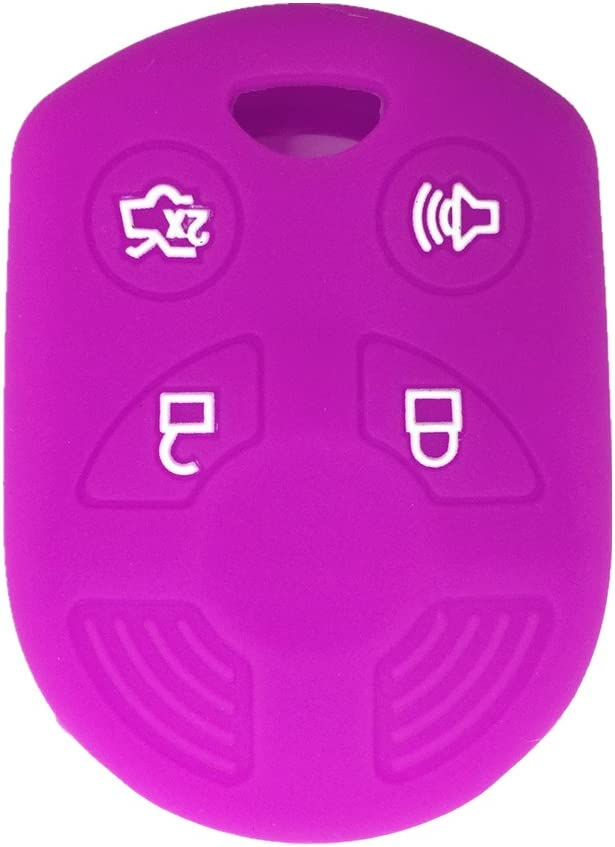 Ezzy Auto Black 4 Buttons Silicone Rubber Key Fob Case Key Cover Key Jacket Skin Protector fit for Ford