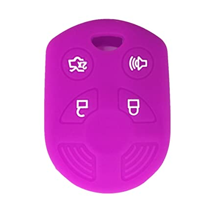 Ezzy Auto Purple 4 Buttons Silicone Rubber Key Fob Case Key Cover Key Jacket Skin Protector fit for Ford