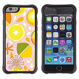 WAWU Rugged Armor Slim Protection Case Cover Shell -- lime lemon citrus pattern stylized -- Apple Iphone 6 PLUS 5.5