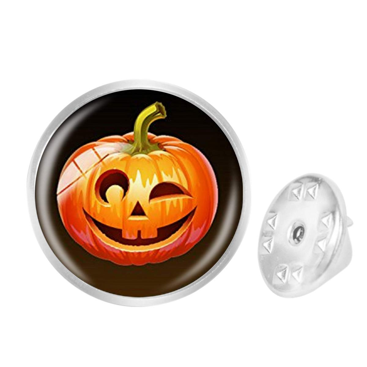 WAZZIT Round Metal Tie Tack Hat Lapel Pin Brooches Halloween Funny Pumpkin Dome Banquet Badge Enamel Pins Trendy Accessory Jacket T-Shirt
