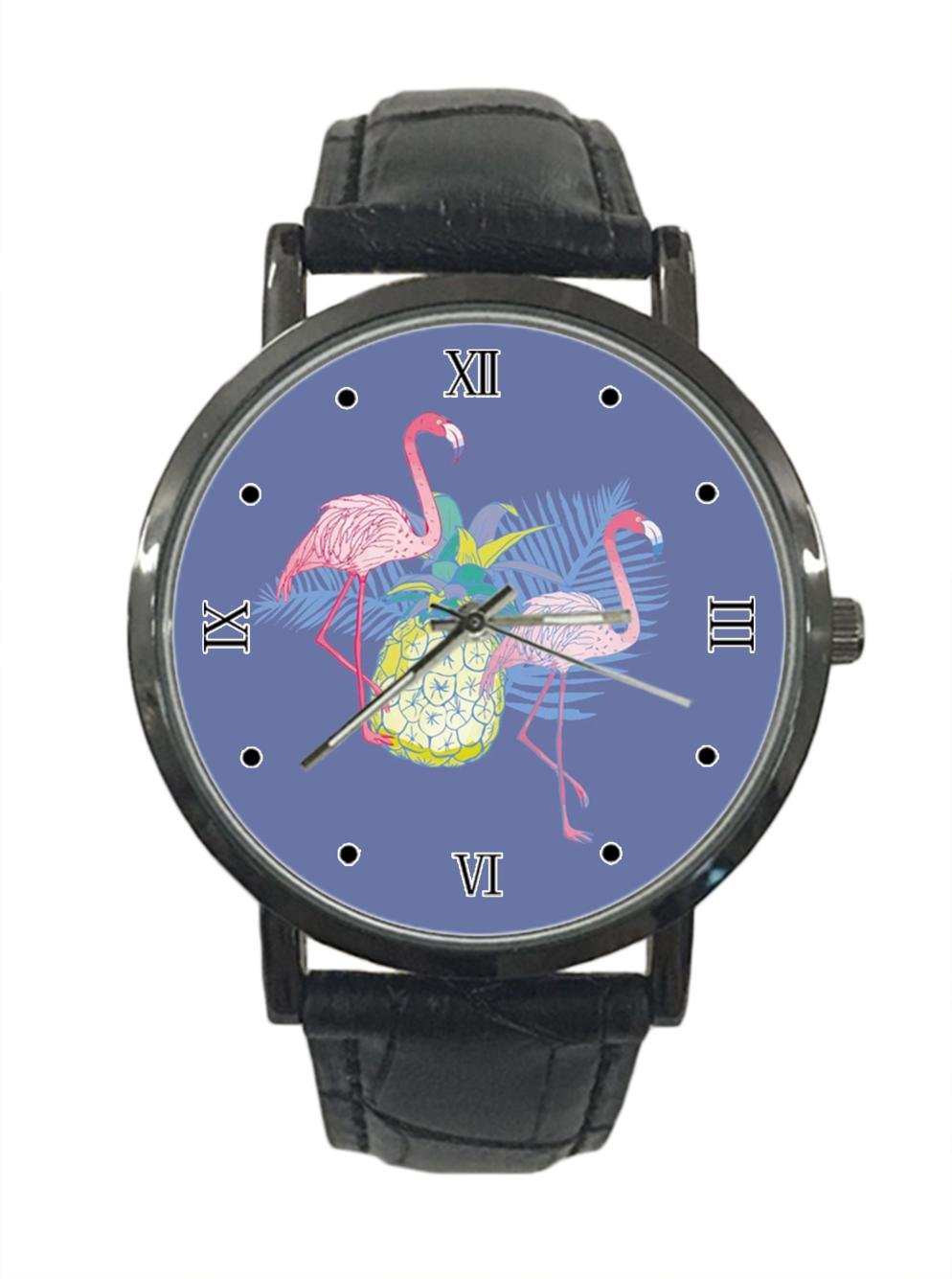 jkfgweeryhrt New Simple Fashion Pink Flamingo Stainless Steel Leather Analog Quartz Sport Wrist Watch