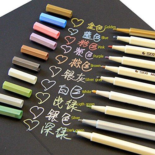 Butterme Metallic Marker Pens, Satz von 10 Farben für Kartenherstellung / DIY Fotoalbum / Gebrauch auf irgendeiner Oberfläche-Papier / Glas / Kunststoff / Keramik