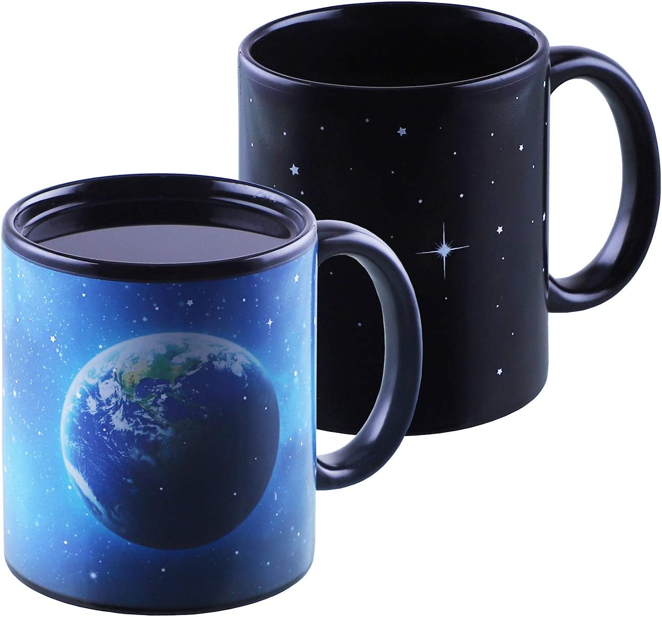 This is an image of a heat-sensitive mug in blue color with earth print on one mug.
