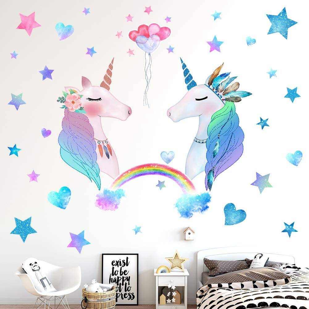 Amazon Com 74 Pcs Unicorn Bedroom Decor For Girls Removable Wall Stickers For Kids Girls Room Decorations For Bedroom 2 Sheets Large Size Gift Pack Arts Crafts Sewing