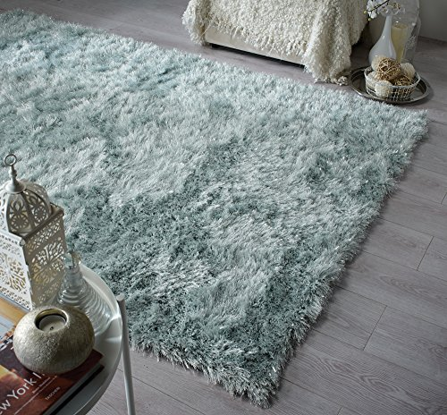 Dazzle Thick Silky Shiny Shimmer Shaggy Rug Very Soft Carpet (5'3''x7'7'' (160x230cm), Duck Egg) ()