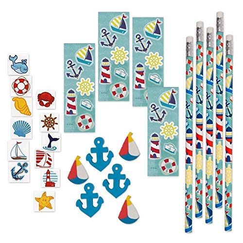 144 Piece Nautical Party Supplies: 12 Pencils 12 Sticker Sheets 48 Erasers and 72 Tattoos, Blue Toys Ahoy Decorations Decorative Fish Starfish Sea Shells Anchor Theme for Baby Shower Birthday (Ocean Themed Tattoos)