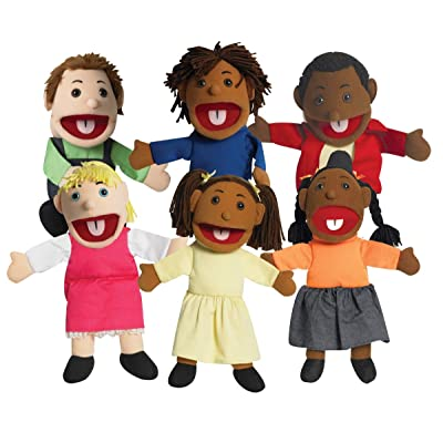 Children's Factory CF100-896 15 in. Ethnic Children Puppets with Movable Mouths - Set of 6: Toys & Games