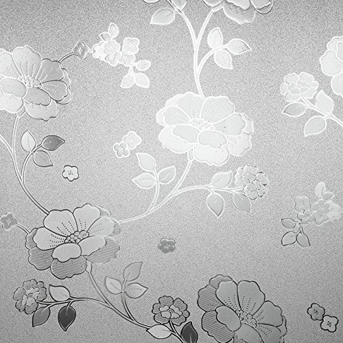 ASIBG Home No Static Window Stickers Paper Glue Window Frosted Translucent Opaque Bathroom Toilet Paper Window Glass Film,90Cm Width ×1M Long,565 Romantic Big Flower (Glasses 565)