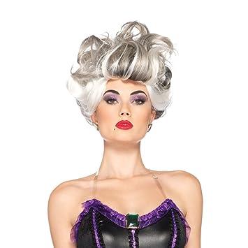 Ursula peluca La Sirenita de Disney para mujer adultos traje gris bruja Mar Blanco