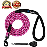 Tifereth Dog Leashes for Medium and Large Dogs Mountain Climbing Rope Dog Leash 6 ft Long Supports The Strongest Pulling Large and Medium Sized Dogs(Free Dog Training Clicker) (6 Feet, Pink)
