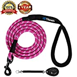 Dog Leashes for Medium and Large Dogs Mountain Climbing Rope Dog Leash 4 ft Long Supports the Strongest Pulling Large and Medium Sized Dogs(Free Dog Training Clicker) (4 Feet, Pink)