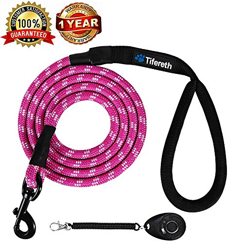 Tifereth Rope Medium-Large 6ft-4ft Dog-Leash – Strong Big Heavy Duty Climbing Rope Leash with Soft Padded Handle for…