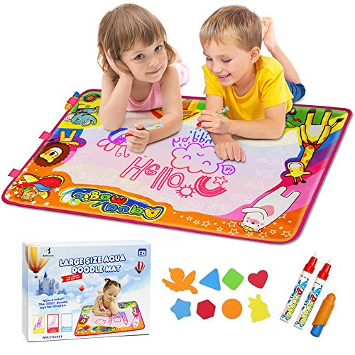 Aqua Magic Mat, Betheaces Kids Toys Large Water Drawing Mat Toddlers Painting Board Writing Mats in 6 Colors with 2 Magic Pens and 1 Brush for Boys Girls Educational Gift Size 34.5 X 22.5