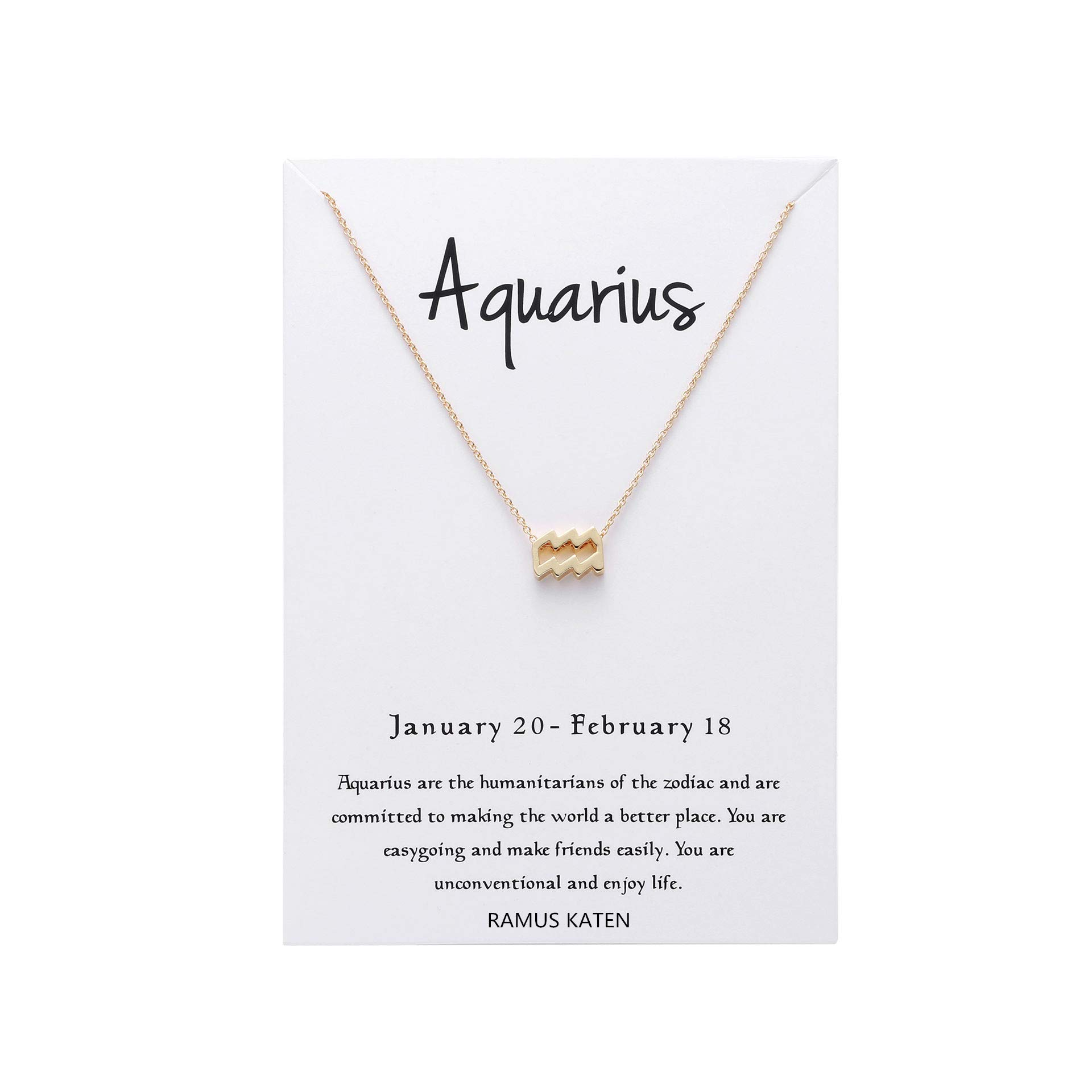 RAMUS KATEN Zodiac 12 Constellation Pendant Necklace Astrology Gold Tone Chain with Message Card