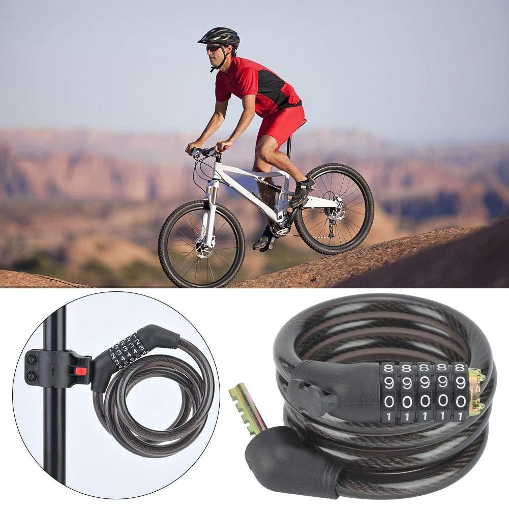 Cerradura Universal del Cable de La Bicicleta de Seguridad Port/átil con El Soporte de La Cerradura VGEBY1 Cerradura de La Contrase/ña de La Bicicleta