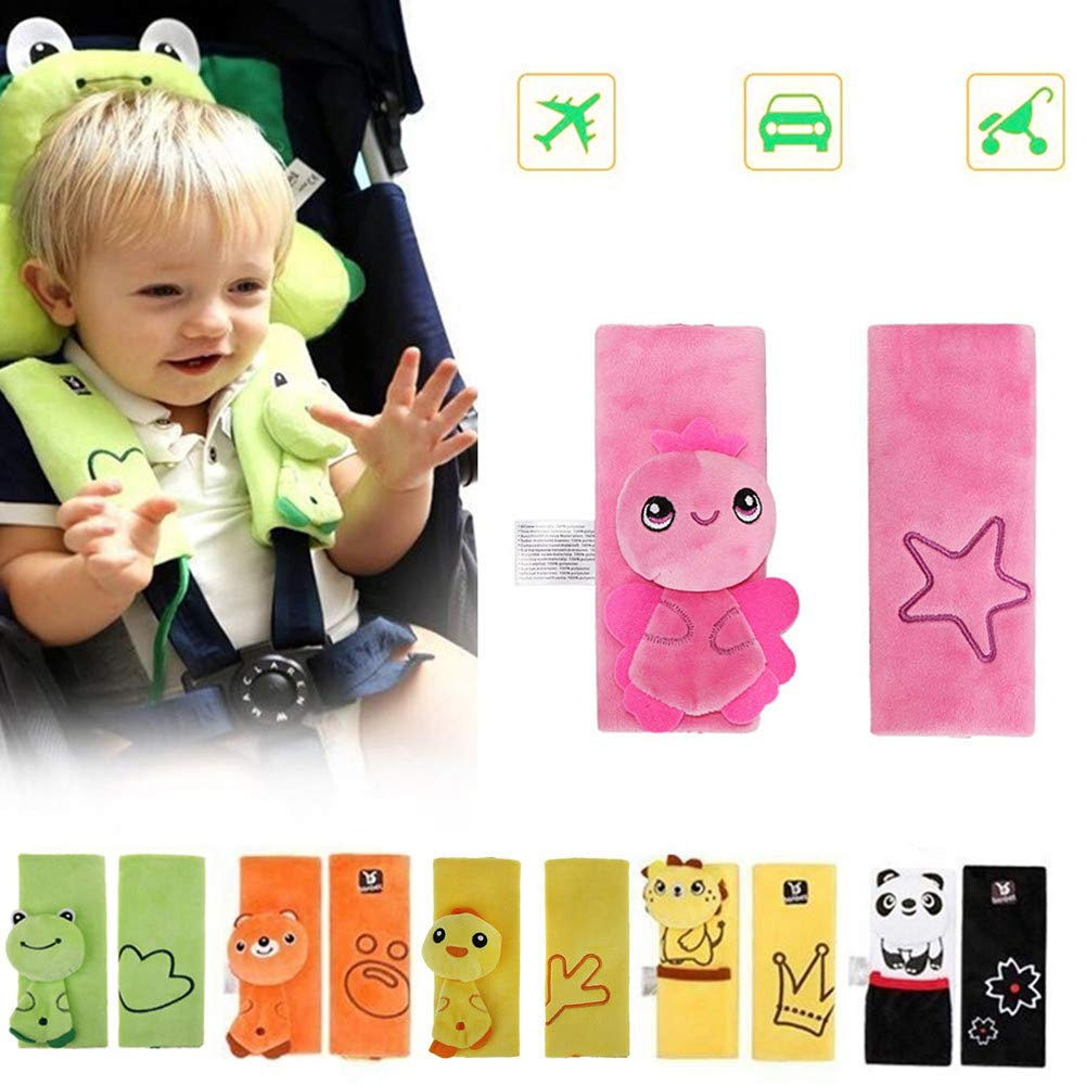 DQTYE Soft Cartoon Baby Child Animal Harness Car Seat Belt Strap Covers Safety Shoulder Pad Protection Cushion for Infant Stroller Pushchair Seatbelt (Yellow Lion)