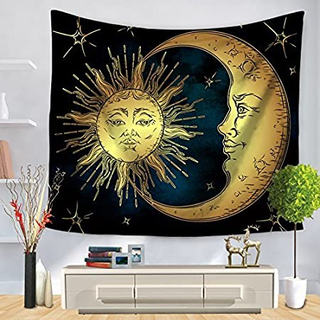 qees mystic hippy tapestry indian sun and moon wall hanging throw