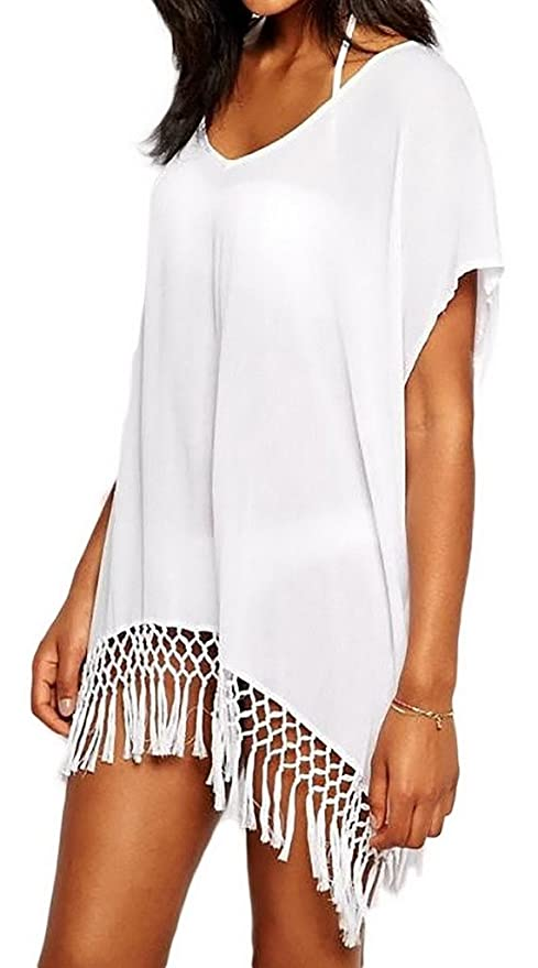 5f5060a834 Bigood Women's White Short Kimono Sleeve Crochet Fringe Beach Kaftan ...