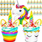 Unicorn Cupcake Toppers, Wrappers and One Giant Unicorn Balloon. Makes 24 Cupcakes