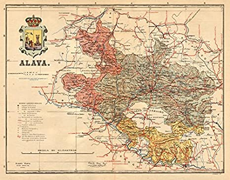 Álava Alava Araba. Vitoria Gasteiz Euskadi. Mapa Antiguo Provincia. Martin – Old Antiguo Mapa Vintage – C1911 – Mapas de Impreso de España: Amazon.es: Hogar