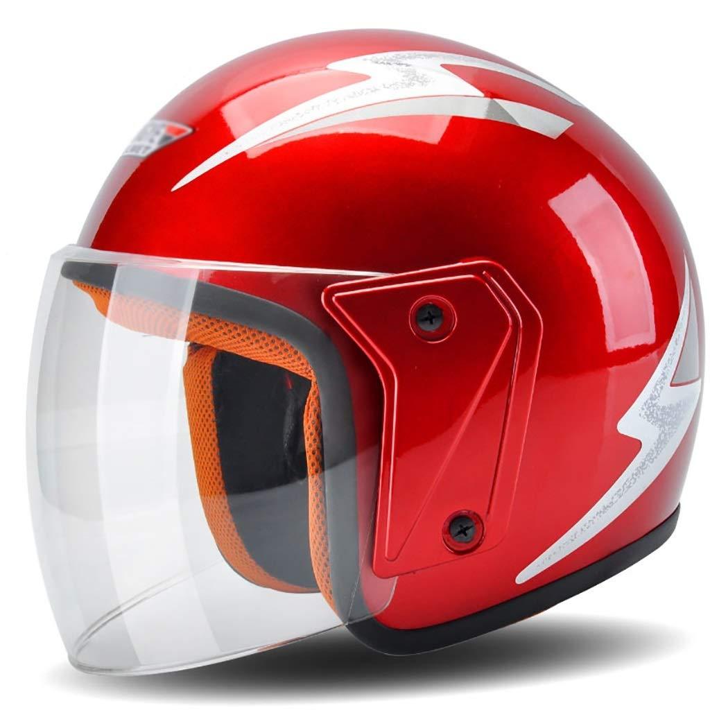 男性と女性のためのヘルメット/オートバイヘルメット夏の日焼け止めヘルメットFour Seasonsユニバーサル4色ライトパーソナリティファッションヘルメット 保護 (Color : 赤)