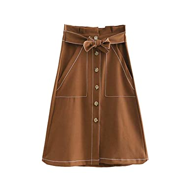 d92e3553b4 Image Unavailable. Image not available for. Color: Stylish Paperbag Waist  midi Skirt ...