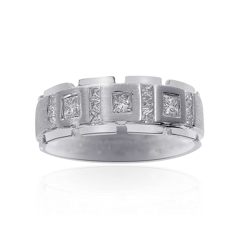 0.85 Carat Diamond Mens Wedding Band 14k White Gold