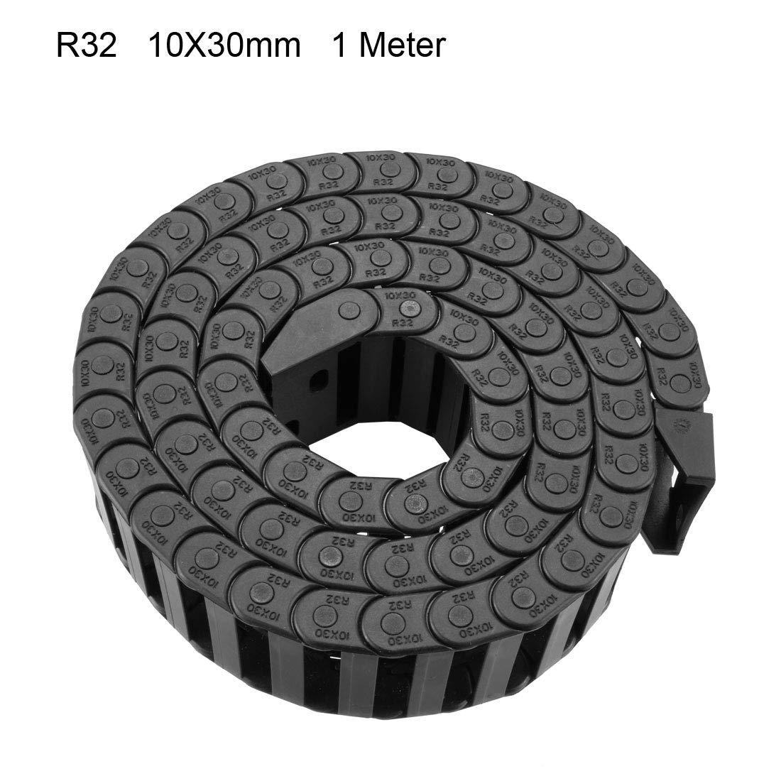 sourcing map R55 25mm x 57mm Pl/ástico cerrado can abierto Cadena de arrastre del cable Portaherramientas 1M Largo