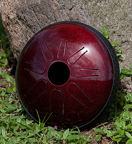 IDIOPAN LUNABELL 8'' TUNABLE STEEL TONGUE DRUM w/ PICKUP - RUBY RED by Idiopan 8'' Steel Tunable Tongue Drum w/ Electric Pickup