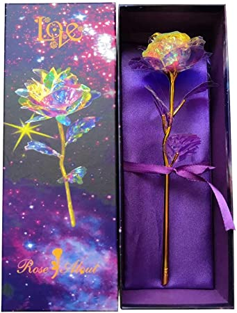 Kirifly Artificial Rose Gifts Fake Flowers Roses Presents For Women Plastic Cellophane Flower Birthday Anniversary Engagement Colorful Gifts