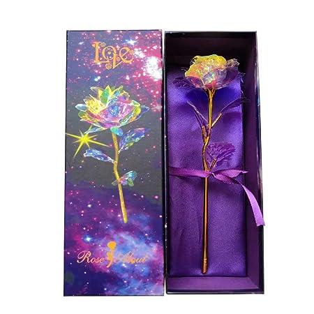 KIRIFLY Gold Rose Regalos para Mujeres Rosas Artificiales Fake Plastic Rebanada Flor Cumpleaños Aniversario Regalos de Ompromiso (Colorido)
