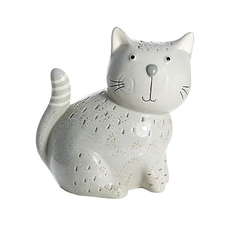 SPOTTED DOG GIFT COMPANY Adornos para Gato, Figura Decorativa Estatua de cerámica Color Gris Altura