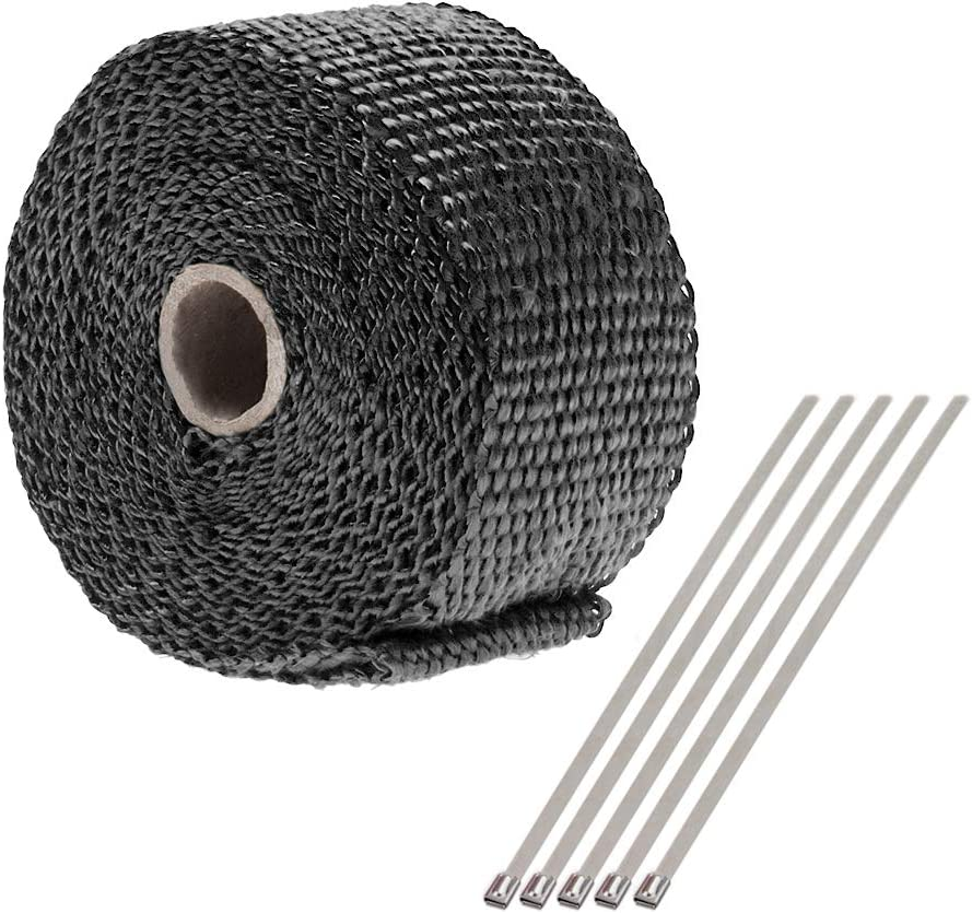 Fiberglass Heat Shield with 5 pcs Stainless Ties Kits CarBole Exhaust Manifold Tape 50mm x 5M Exhaust Heat Wrap Tape for Motorcycle Black