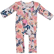 Posh Peanut One Piece Baby Romper Silky Soft & Breathable - Premium Knit Infant Clothing - Bamboo Viscose (Dusk Rose, 0-3 Months)