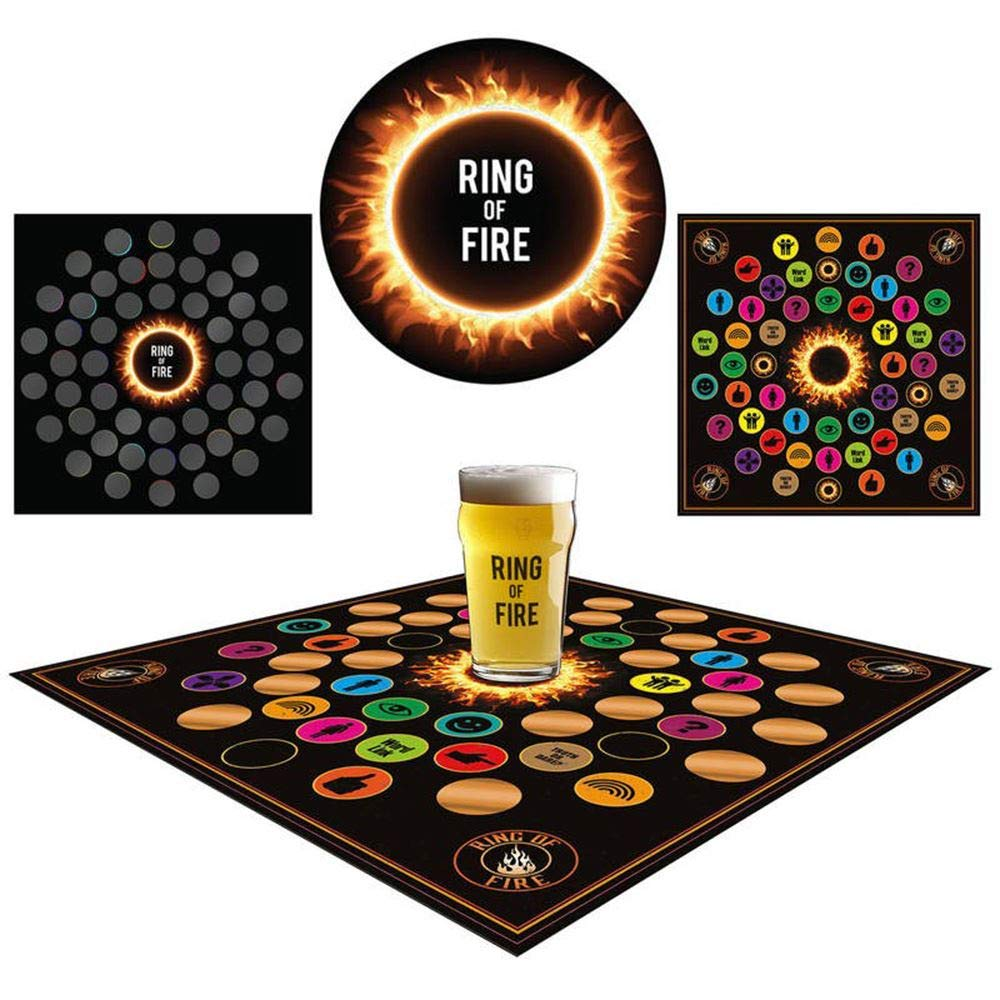 Iconic Ring of Fire Drinking Game with Scratch Off Rules Adult Alcohol Shot Beer Party Fun Activity ASAB