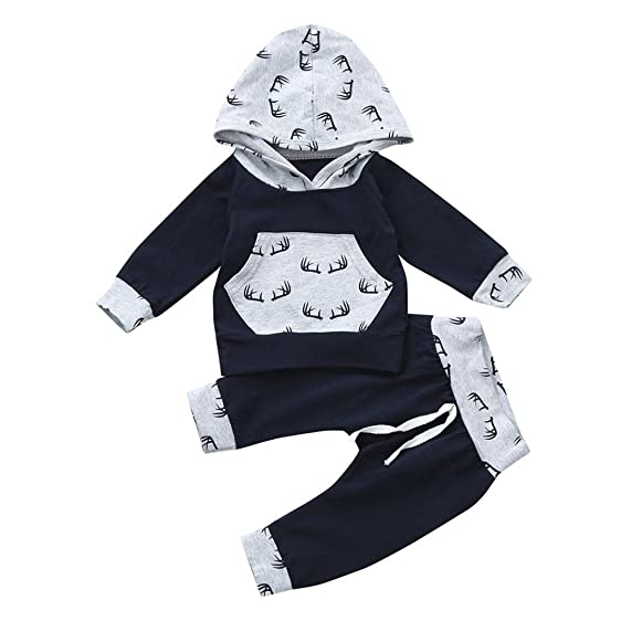 ba38a3ebd Xiting Toddler Infant Baby Boys Deer Long Sleeve Hoodie Tops Sweatsuit  Pants Outfit Set