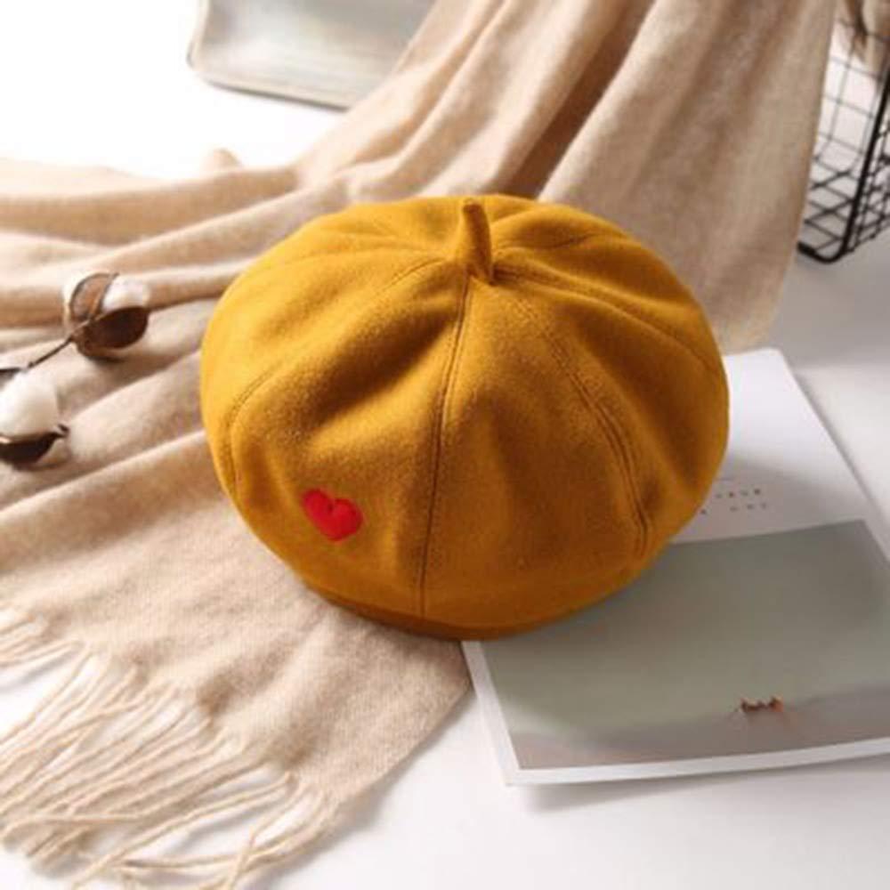 Color : Orange Artists hat Hat Female Painter Hat Sister Love Hairy Beret Port Wind Wild Student Octagonal Cap Female in hat